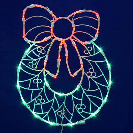 "LED Wreath Window Decor 17"" x 13"""