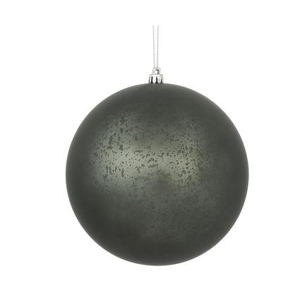 "Pewter Ball Ornaments 4"" Faux Mercury Matte Set of 6"