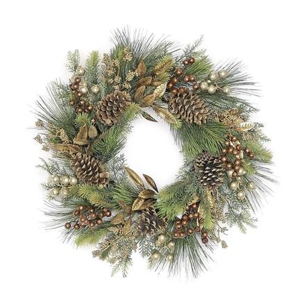 """Metallic Bay Leaf Wreath 24"""""""