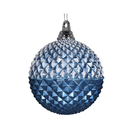 "Neve Diamond Ball Ornament 5"" Set of 3 Sea Blue"