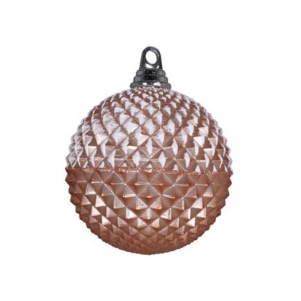 "Neve Diamond Ball Ornament 5"" Set of 3 Rose Gold"