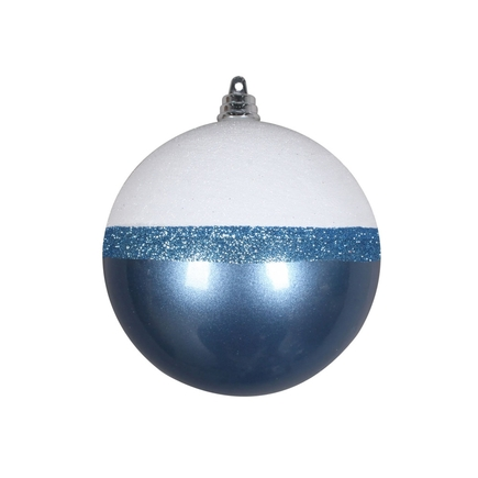 "Neve Ball Ornament 4"" Set of 6 Sea Blue"