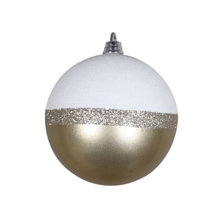 "Neve Ball Ornament 4"" Set of 6 Champagne"