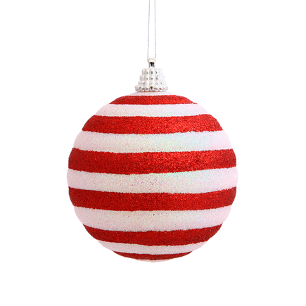 "Peppermint Striped Glitter Ball Ornament 3"" Set of 4"