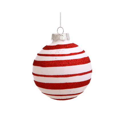 """Candy Cane Striped Glitter Ball Ornament 3"""" Set of 4"""