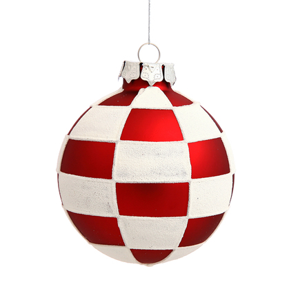 """Candy Checkered Ball Ornament 3"""" Set of 4"""