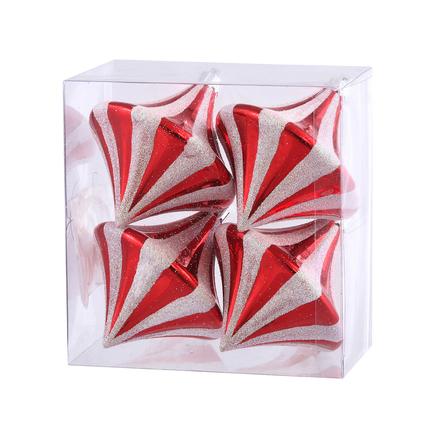 "Peppermint Diamond Drop Ornament 3.5"" Set of 4"