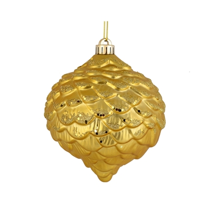"Clara Pinecone Ornament 6"" Set of 6 Gold"