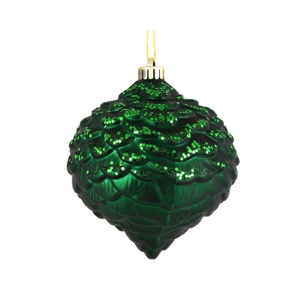 "Clara Pinecone Ornament 6"" Set of 6 Emerald"
