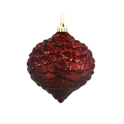 "Clara Pinecone Ornament 6"" Set of 6 Burgundy"