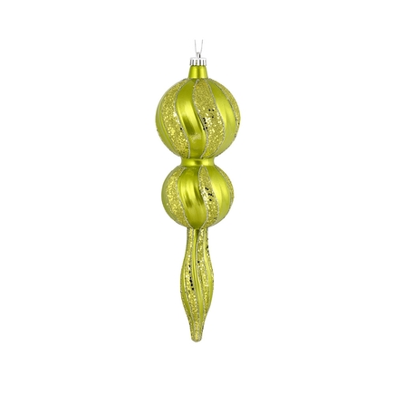 "Crystal Glitter Finial 16.5"" Lime"