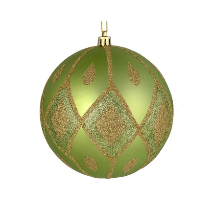 "Gloria Ball Ornament 4"" Set of 4 Celadon"