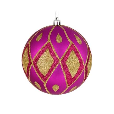 "Gloria Ball Ornament 4"" Set of 4 Fuchsia"