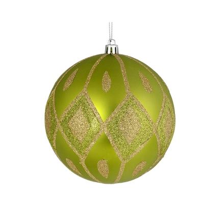 "Gloria Ball Ornament 4"" Set of 4 Lime"