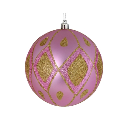 "Gloria Ball Ornament 4"" Set of 4 Pink"