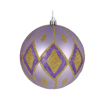 "Gloria Ball Ornament 4"" Set of 4 Lavender"