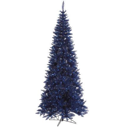 6.5' Navy Blue Fir Slim w/ LED Lights
