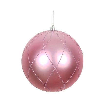 """Noelle Ball Ornament 6"""" Set of 3 Pink"""