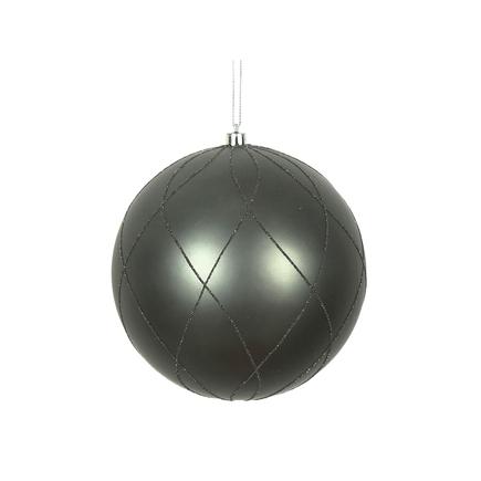 """Noelle Ball Ornament 8"""" Set of 2 Pewter"""