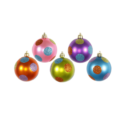 "Polka Dot Candy Ball Ornaments 2.4"" Set of 15 Asst."