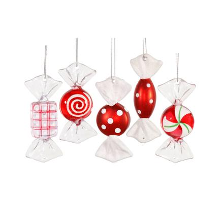 "Mint Candy Ornaments 3.5"" Set of 5 Asst."
