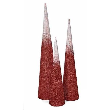 4' Ombre Glitter Cone Tree Red/White