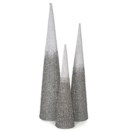 4' Ombre Glitter Cone Tree Silver