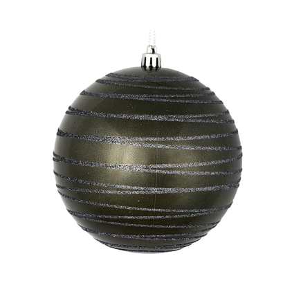 """Orb Ball Ornament 6"""" Set of 3 Pewter"""