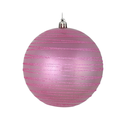 """Orb Ball Ornament 4"""" Set of 4 Pink"""