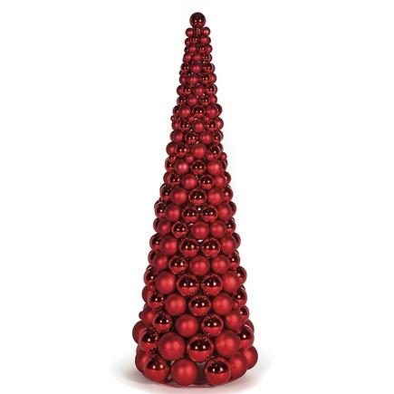 7' Ornament Cone Tree Red