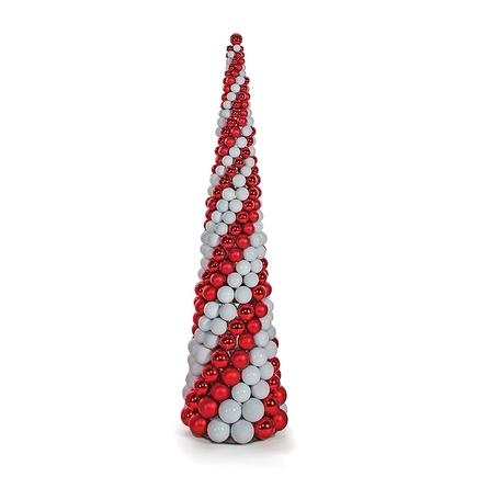 7' Ornament Cone Tree Red/White
