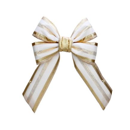 Outdoor Champagne Stripe Bow 12""