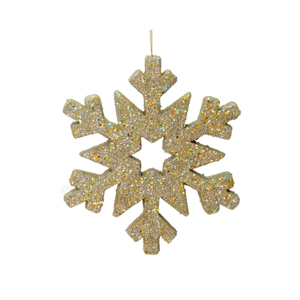 """Outdoor Glitter Snowflake 12"""" Champagne"""