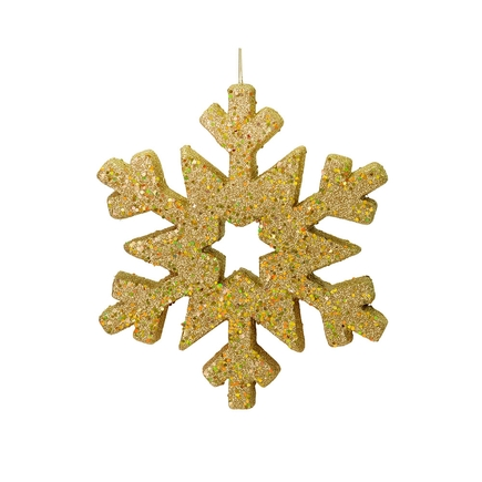 """Outdoor Glitter Snowflake 12"""" Gold"""