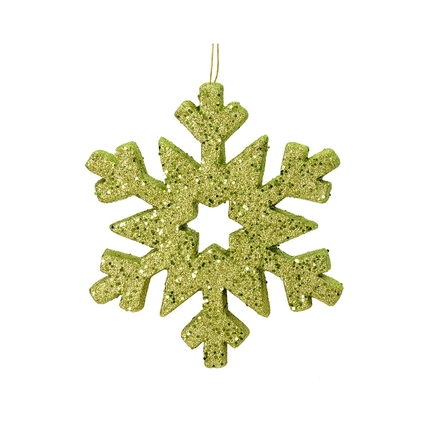 """Outdoor Glitter Snowflake 12"""" Lime"""
