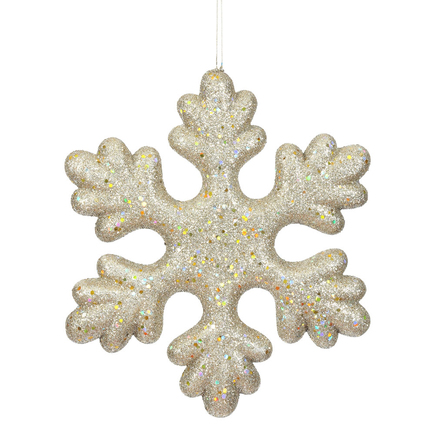"Outdoor Fancy Snowflake 15"" Set of 2 Champagne"
