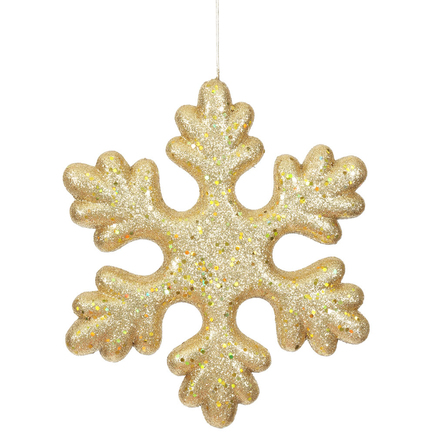 """Outdoor Fancy Snowflake 15"""" Set of 2 Gold"""