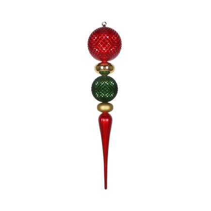 "Eva Giant Finial 33"" Red/Gold/Green"