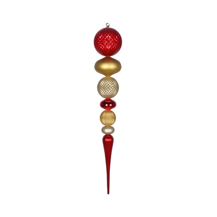 "Zoe Mega Finial 42"" Red/Gold/Champagne"