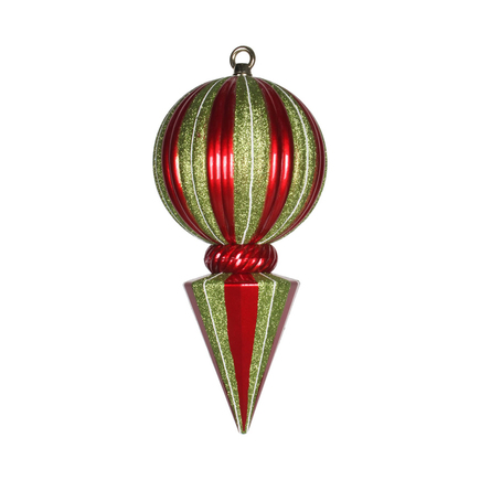 "Peppermint Ball Finial 12"" Set of 2 Red/Green"