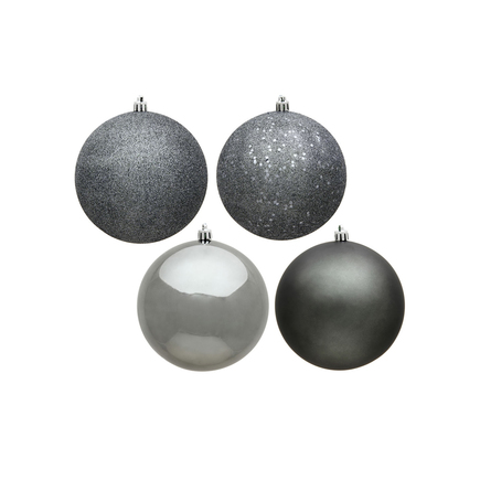 """Pewter Ball Ornaments 4"""" Assorted Finish Set of 12"""