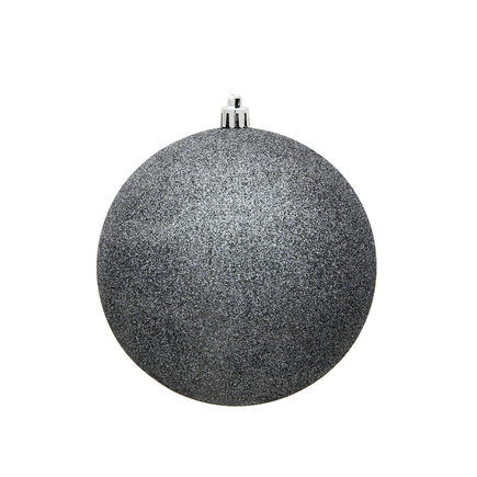 """Pewter Ball Ornaments 4"""" Glitter Set of 6"""