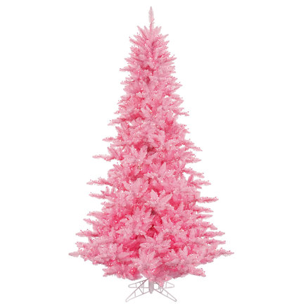 9' Pink Fir Full w/ LED Lights