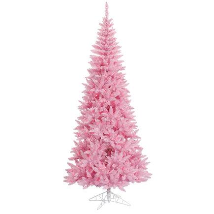 9' Pink Fir Slim w/ LED Lights