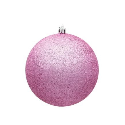 "Pink Ball Ornaments 4"" Glitter Set of 6"