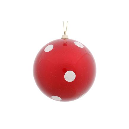 "Polka Dot Candy Ball Ornament 5.5"" Set of 12 Peppermint"
