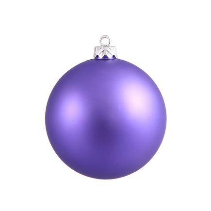 "Purple Ball Ornaments 8"" Matte Set of 4"
