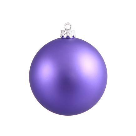 "Purple Ball Ornaments 6"" Matte Set of 4"