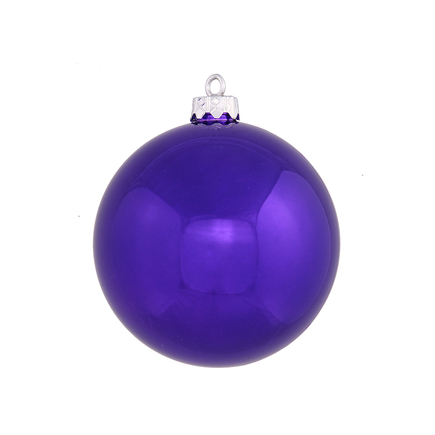 "Purple Ball Ornaments 4"" Shiny Set of 6"