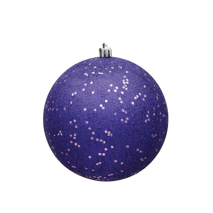 "Purple Ball Ornaments 8"" Sequin Set of 4"